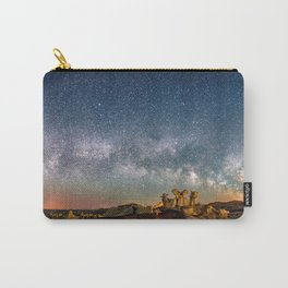 Panorama Bisti Badlands Hoodoos Under New Mexico Starry Night by OLena Art Carry-All Pouch