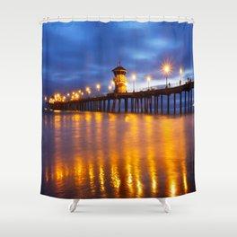 HB Pier Lights Shower Curtain