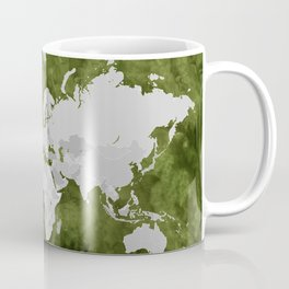 Moss green watercolor and grey world map with outlined countries Coffee Mug