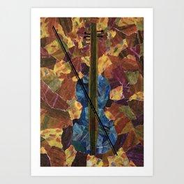 Blue Violin Art Print