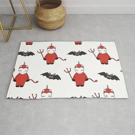 cute cartoon devil unicorns halloween pattern background with bats Rug