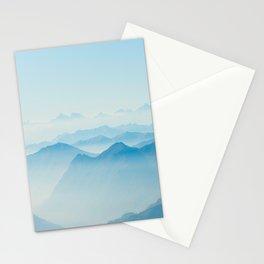 Mystical Paradise Heaven Blue Mountains Parallax Watercolor Pastel Blue Landscape Stationery Cards