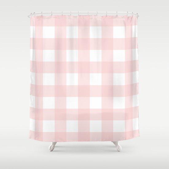 Delightful Pantone 2016: Rose Quartz Gingham Shower Curtain