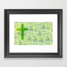 Abstract Background with an Illuminated Cross Framed Art Print