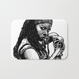 Drawing of Michonne from the Walking Dead Bath Mat