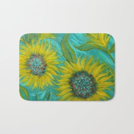 Sunflower Abstract on Turquoise I Bath Mat