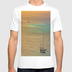 Sailing From the Sunset MEDIUM White Mens Fitted Tee
