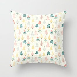 Doodle trees in the snow - small scale Throw Pillow