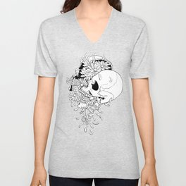Skull (Pushing Up Daisies) Unisex V-Neck