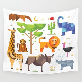 Geometric animals in savannah Wall Tapestry