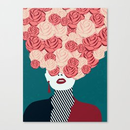 Women with roses Canvas Print