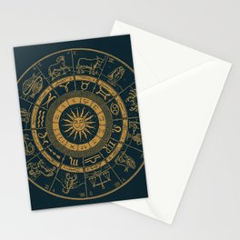 Vintage Zodiac & Astrology Chart | Royal Blue & Gold Stationery Cards