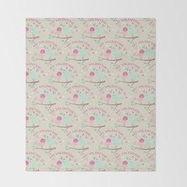 Pink teal gren love birds my valentine romantic floral Throw Blanket