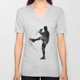 Baseball Boy Art Softball Pitcher Black and White Art Sports Gift Unisex V-Neck