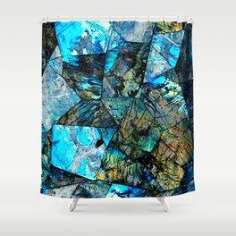 Blue & Green Iridescent Mineral Surface Shower Curtain
