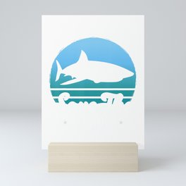 Retro Vintage Save The Sharks Funny Animal Lover Gift T-Shirt Mini Art Print