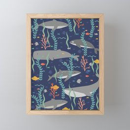 Whales in the Ocean Pattern Framed Mini Art Print