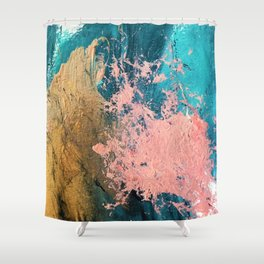 Coral Reef [1]: colorful abstract in blue, teal, gold, and pink Shower Curtain