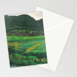 Idyllic Mountain and Meadow Landscape, A Clear Night in June by Nikolai Astrup Stationery Cards