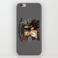 buffy iPhone & iPod Skins featuring Buffy vs River by Karen Hallion Illustrations