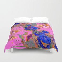 Pink Butterflies Blue Morning Glory Pink Color Art Duvet Cover