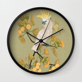 Cockatoo and Ginkgo Tree Wall Clock