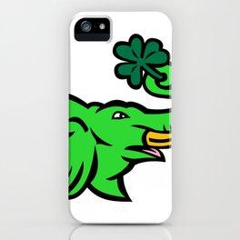 Green Elephant Shamrock Icon iPhone Case