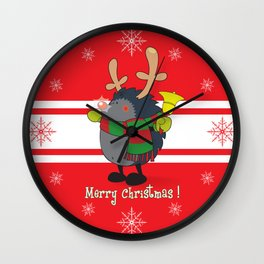 Rudolph the Red Nosed Hedgehog wishes You a Merry Christmas! Wall Clock
