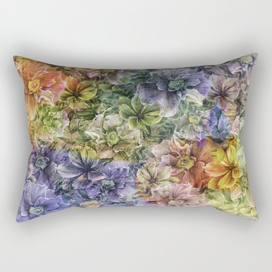 Floral painterly pattern Rectangular Pillow