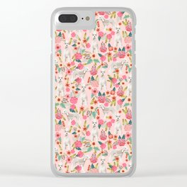 Bedlington Terrier floral dog breed gifts for unique pet lover pink Clear iPhone Case