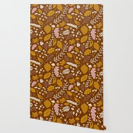 Fall Foliage in Gold + Brown Wallpaper