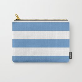 Blue-gray - solid color - white stripes pattern Carry-All Pouch