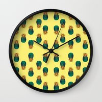 pineapples Wall Clocks featuring PINEAPPLES by Heaven7