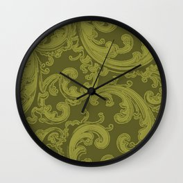 Retro Chic Swirl Golden Lime Wall Clock