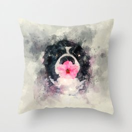 Dog with Flower Throw Pillow