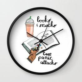 Books & snacks cure panic attacks Wall Clock