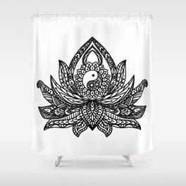 Yin Yang Lotus - Black Shower Curtain