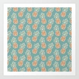 Pineapples | Teal Art Print