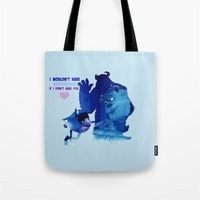 monster inc Tote Bags featuring Monsters Inc by Keri Lynne