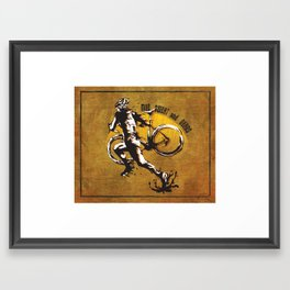 Mud Sweat and Gears Cyclocross Illustration Framed Art Print