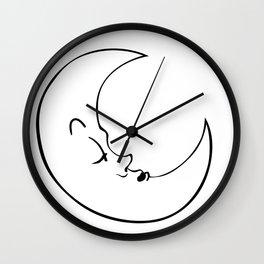 Sleepy Moon Wall Clock