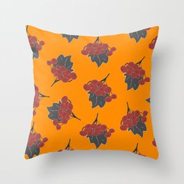 Seamless Pattern Of Rowan Spray, old traditional artistic style. Throw Pillow