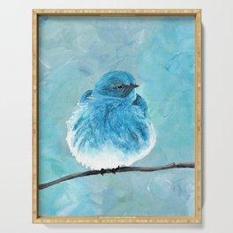 Mountain Bluebird Acrylic Art, Blue Bird Painting, Bird on a Branch, Wall Art, Fluffy Bird Serving Tray