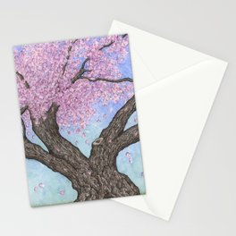 Cherry Blossom Tree Ink and Watercolor  Stationery Cards