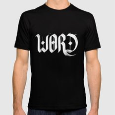 word MEDIUM Black Mens Fitted Tee