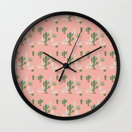 Alpaca with Cacti Wall Clock