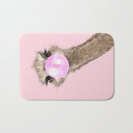 Sneaky Ostrich with Bubble Gum in Pink Bath Mat