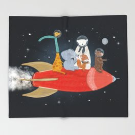 lets all go to the moon Throw Blanket