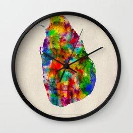 Sri Lanka Map in Watercolor Wall Clock