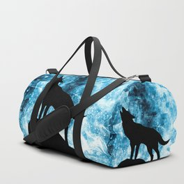 Howling Winter Wolf snowy blue smoke Duffle Bag